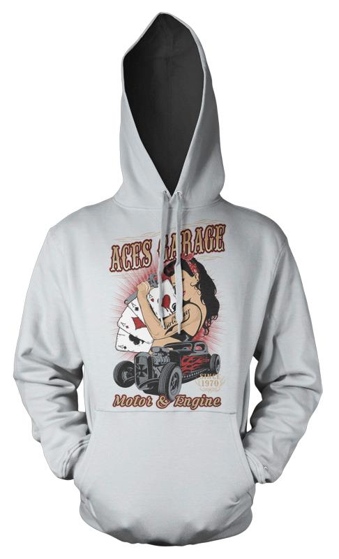 BNWT ACES GARAGE HOT ROD MOTOR /& ENGINE POKER  HOODIE HOOD KIDS CHILDS  3-12 YRS